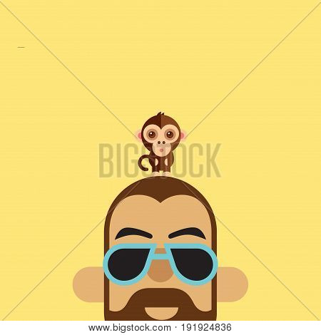 Illustration Of A Monkey Sitting On The Head Of A Stylish Man On A Plain Background