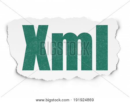 Programming concept: Painted green text Xml on Torn Paper background with  Binary Code