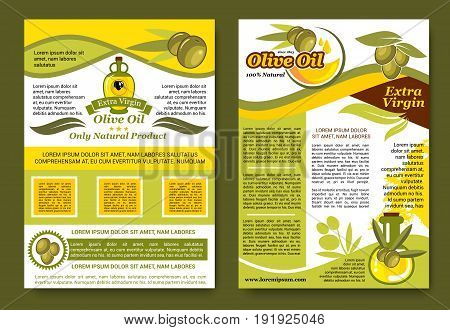 Olive oil product posters set with black and green olives for extra virgin natural cooking oil. Vector design of olive ripe fruits and oil in bottle or jar for organic farm market or store