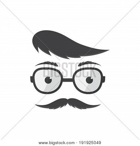 Man in glasses with a forelock and mustache vector icon