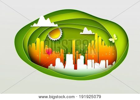 Concept of eco life style with paper cut decoration. Vector illustration for eco friendly city concept. Paper art cutout style for presentations, flyers, posters and invitations.