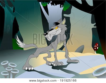 Wild danger grey wolf in cartoon style. Animal in the woods