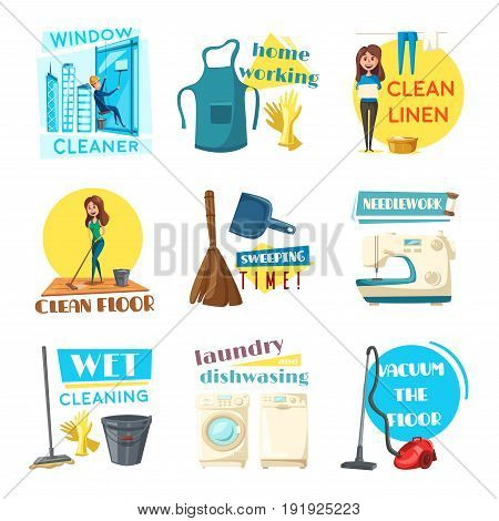 Home cleaning and homework vector flat design icons set. Woman washing dishes at kitchen sink, cleansing room with mop and vacuum cleaner or sewing needlework. Man cleans windows on skyscraper