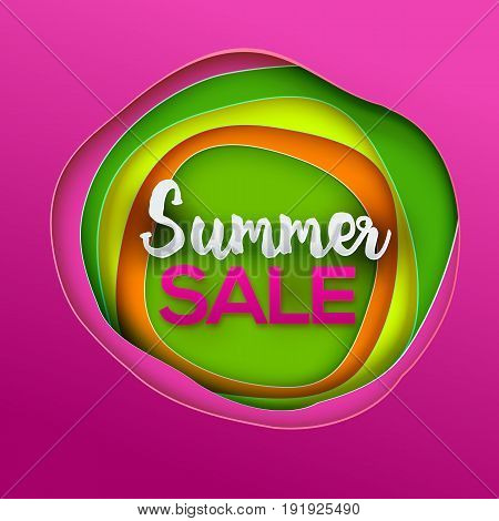 Summer sale Inscription banner. Lettering Vector illustration. Paper art cut layers. Colorfull background. Paper art cutout style for presentations, flyers, posters and banners.
