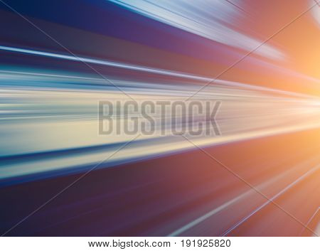 High speed business and technology concept Acceleration super fast speedy motion blur of train station for background design.