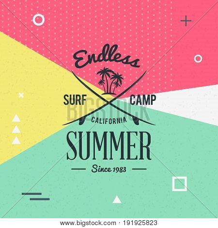 Surfing School And Rental Summer Badge. Typographic Retro Style Label With Textured Background. Rent