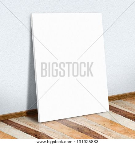 Blank White Paper Poster On White Wall And Wooden Floor,mock Up To Display Or Montage Of Your Conten