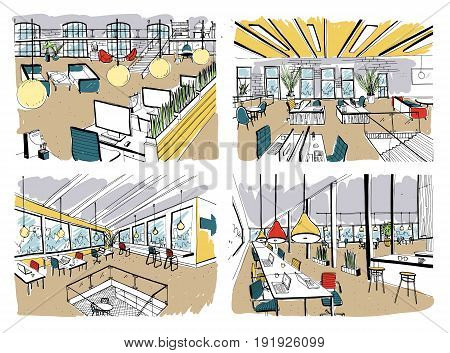 Set of hand drawn coworking. Modern office interiors, open space. workspace with computers, laptops, lighting and place for rest. Colorful horizontal vector sketch illustration