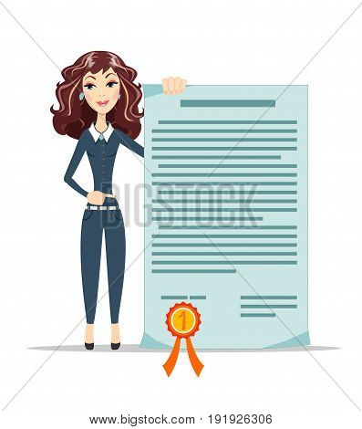 Woman points to a certificate. Stock vector illustration for poster, greeting card, website, ad, business presentation, advertisement design.