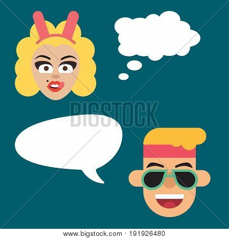 Illustration Of A Girl And Boy Chatting Thinking On A Plain Background