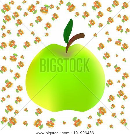 Apple print for children on floral background