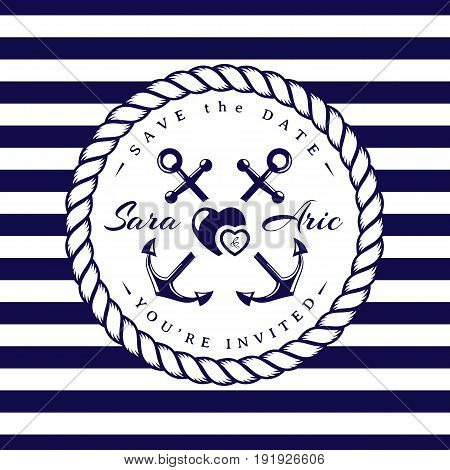 Sea wedding invitation card. Elegant template in nautical style with anchors rope hearts and striped background. Vector illustration in white and dark blue colors.