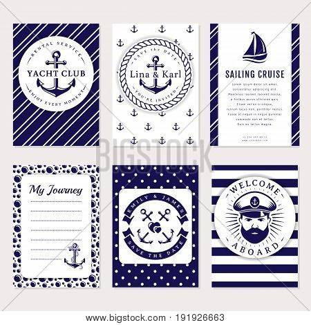 Marine banners invitations and flyers set. Elegant card templates in white and navy blue colors. Sea wedding yacht club sailing cruise and other nautical themes. Vector collection.