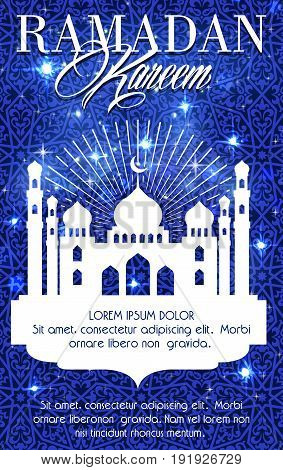 Ramadan Kareem greeting card or poster of blue mosque, crescent moon and twinkling star with Arabic ornate text calligraphy for Islam Muslim religious Ramadan holiday celebration