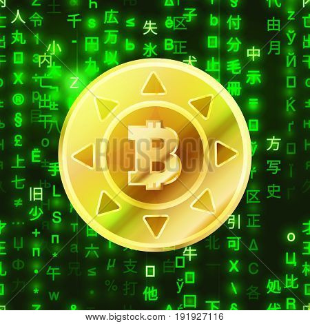 Glossy golden bitcoin coin on green matrix binary code crypto-currency concept illustration