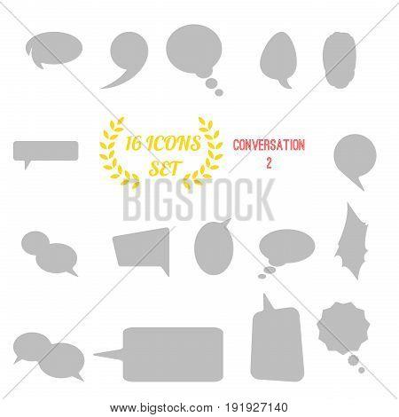 Illustration Of Conversation / Speech Bubbles Icon Set On White Background