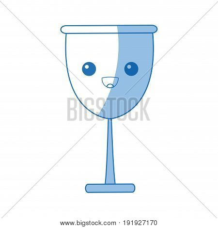 kawaii glass cup beverage wine glassware vector illustration