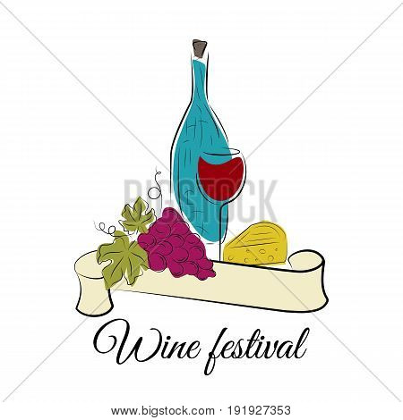Wine festival concept. Set of bottle, wine glass, grape and cheese. Vector illustration isolated on white. Winery products.