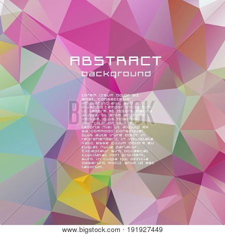 Abstract Textured Polygonal Vector Motley Triangle Background.