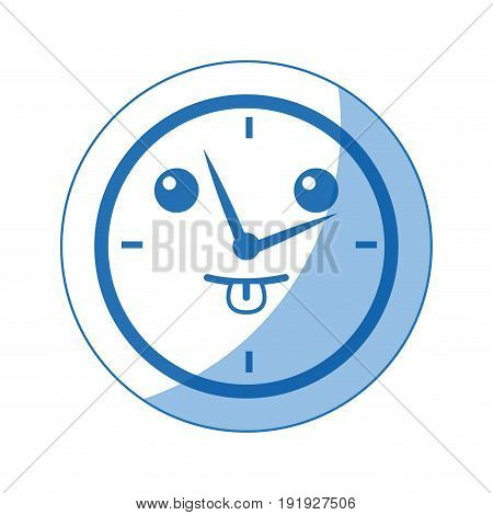 kawaii round clock time hour business object icon vector illustration
