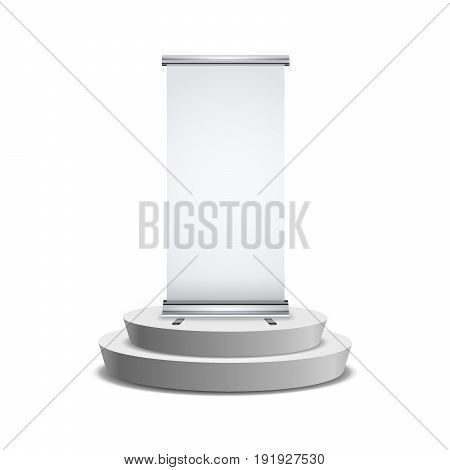 Blank realistic roll-up banner with shadow on round podium isolated on white