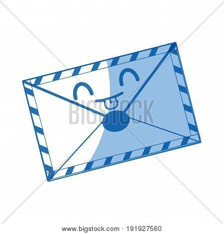 kawaii mail envelope postal stamp letter symbol vector illustration