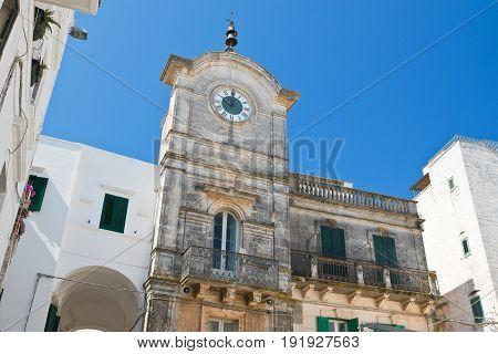 perspective of Clocktower of Cisternino. Puglia. Italy.