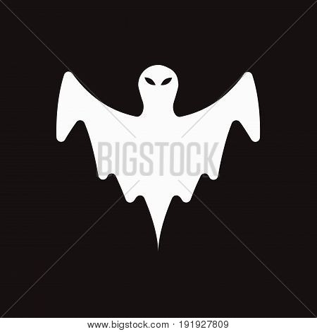 an illustration of white ghost on black background