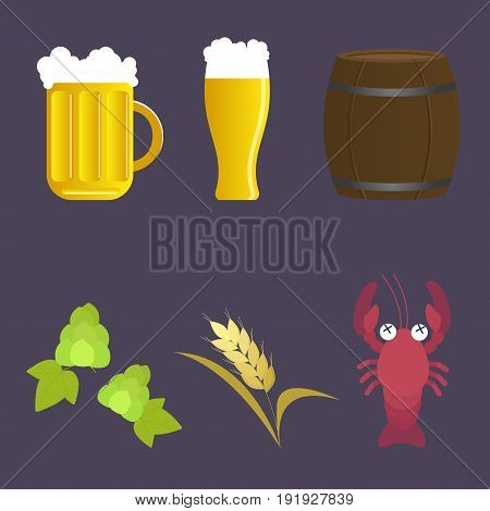 Set of vector icon beer and appetizer: mug and glass barrel hop malt cancer. Flat design illustration