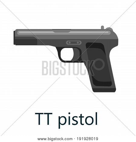 Pistol gun, military handgun weapon, firearm automatic revolver black isolated icon, vector illustration