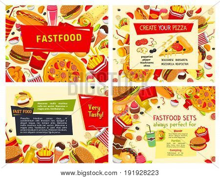 Fast food posters for restaurant. Vector design set of pizza, hamburgers or hot dog sandwiches and popcorn with ice cream and donut dessert, chicken nuggets and cheeseburger for fastfood menu template