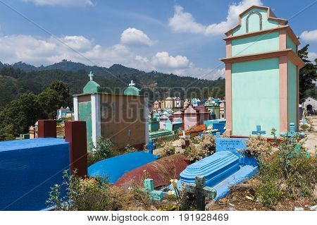 Chichicastenango Guatemala - April 24 2014: View of the colorful cemetery in the town of Chichicastenango in Guatemala Central America