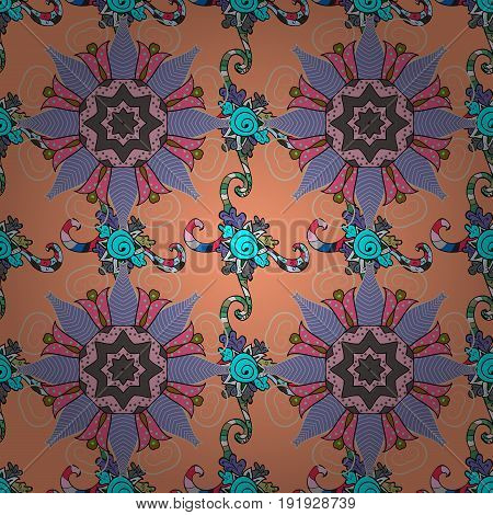 Vector vintage pattern. Mandala colored on a colorfil background. Invitation card.