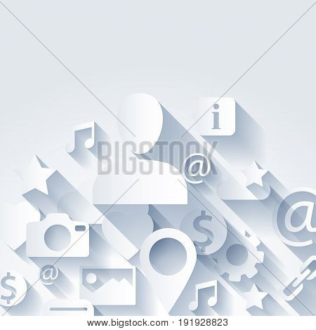 Information symbols white background. Social media icons. Camera, cloud, email, like and other emblems. Paper cut with shadow effect.