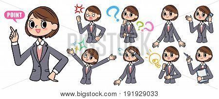 Set of various poses of Gray suit business woman smart