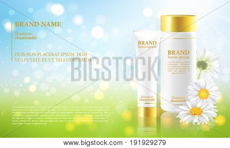 Procurement for the advertising block of chamomile cosmetics. Realistic containers on a blue sky background. Vector.