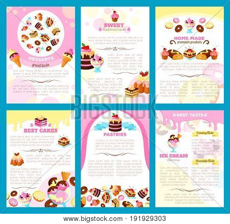 Desserts and bakery shop brochure or poster of vector sweet cakes, biscuits or gingerbread cookies and chocolate donuts or brownie puddings, muffins and cupcakes for patisserie or cafe menu template