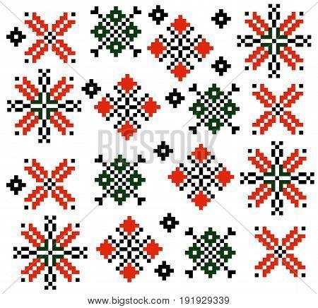 Moldovan Romanian ethnic ornament pattern set collection Vector illustration