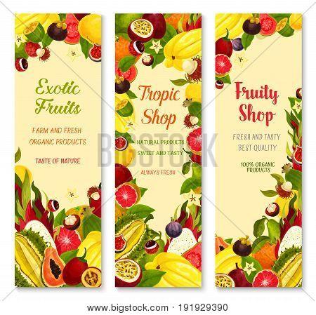 Exotic fruits banners for shop. Vector design of carambola, tropical durian or papaya and banana or kiwi, fresh lychee or rambutan and juicy dragon fruit, guava or orange for farm market