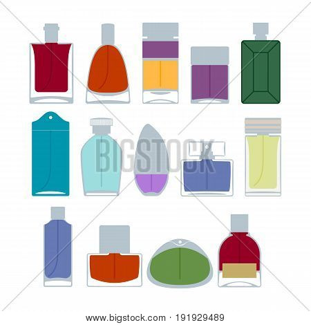 Perfume bottles icons set vector illustration. Eau de parfum. Eau de toilette.