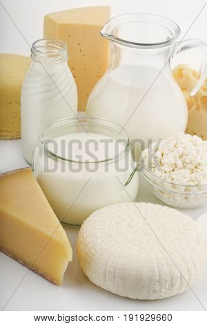 Close up of various fresh dairy products