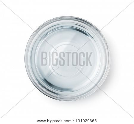 Top view of glass bowl with clear water isolated on white