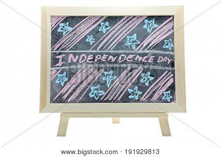 hand drawing of independence day holiday grunge design on chalkboard or blackboard