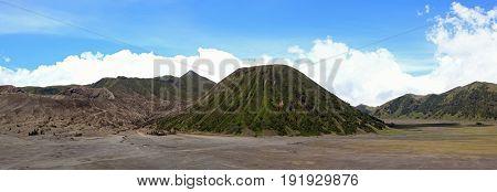 Panorama of Volcanoes at Bromo Batok Sumeru Mountain Region National Park East Java Indonesia