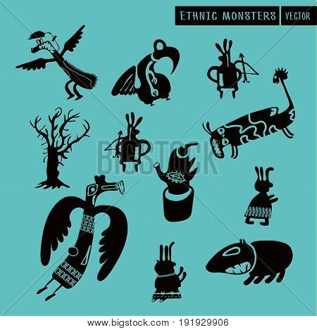 Ethnic Art and Style. Pagan Monsters Vector Set. Simple Drawing Character Silhouette. Tribal Ornament Theme. Heathen Boho Art.