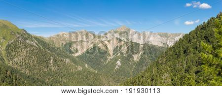 Panorama Of The European Alps With Peaks, Glaciers, Meadows And Valleys In A Beautiful Wide-angled S