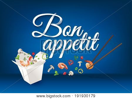 Bon Appetit - paper hand lettering calligraphy. Vector realistic illustration with food and text.