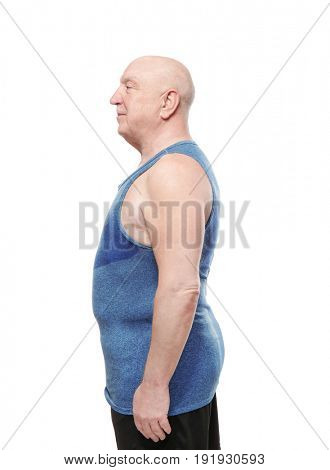 Fat senior man on white background. Weight loss concept