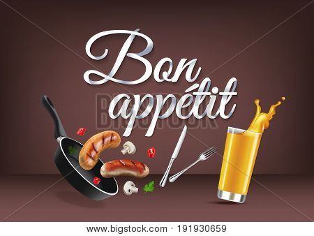 Enjoy your meal - in french language paper hand lettering calligraphy. Vector realistic illustration with food drink objects and text.