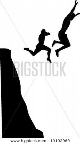 men cliff jumping